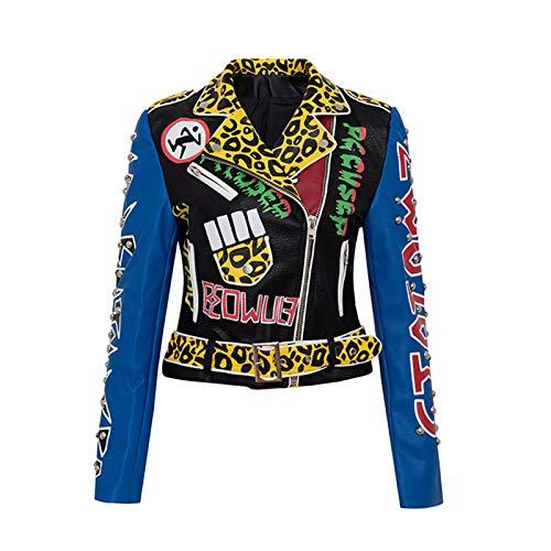 Ning Night Remaches De La Personalidad De Las Mujeres Chaqueta De Cuero Corta del Ciclista De Cuero Sintético, Color Fashion Doodle Coat, Slim Tendent Outwear,Color,S