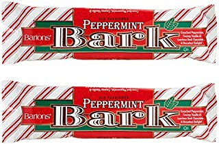 Barton's (2) Packs Old Fashioned Peppermint Bark - Crunched Peppermint, Creamy Vanilla, Luscious Dark Chocolate - Holiday/Christmas Candy Bars - 2.25 oz per bar
