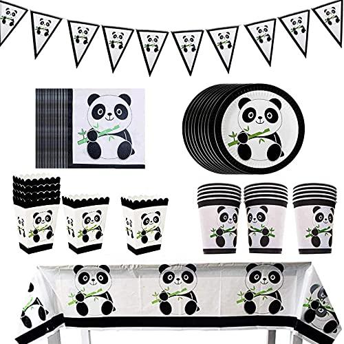 74 Piezas Decoraciones Fiesta Cumpleaños Panda, Vajilla de Fiesta Panda, Decoraciones de Fiesta de Panda, para Niños, Niñas, Panda, Tema, Fiesta de Cumpleaños, Baby Shower, Fiesta, Favor