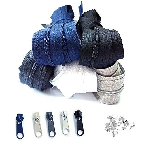 Reißverschluss endlos 3mm 15m 5 Farben Nylon Endlosreißverschluss mit 30 Zipper und 60 Endstück, Reißverschlüsse spiralförmig Meterware teilbar, 2.5cm breit für Kleidung Tasche Mäppchen Bettwäsche