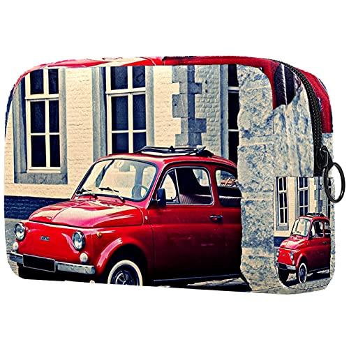 Yitian Bolso cosmético rojo de la arquitectura del coche para las mujeres, adorables bolsos espaciosos del maquillaje del viaje del neceser
