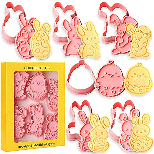 Olywee Easter Cookie Cutter Set, 6 Stück 3D Pressable Christmas Keksausstecher Set - Ei, Kaninchen, geprägte geprägte Ausstechformen für Küchenbackgeschirr