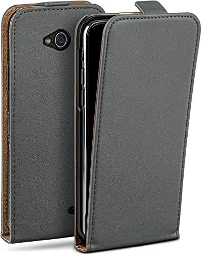 moex Flip Hülle für LG L90 Hülle klappbar, 360 Grad R&um Komplett-Schutz, Klapphülle aus Vegan Leder, Handytasche mit vertikaler Klappe, magnetisch - Grau