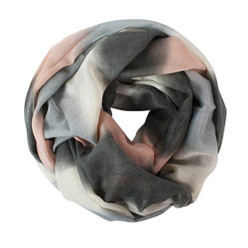 Glamexx24 Neue Kollektion Damen schal leichter Langschal Loop Schlauchschal Tuch Viele Farben, Grau/Rosa/Dunkelgrau/Creme, Einheitsgröße