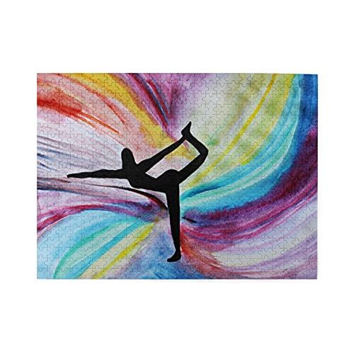 Puzzle de 500 piezas,pose de yoga o fondo de niña de yoga,ilustraciones de juego de rompecabezas de familia numerosa para adultos y adolescentes