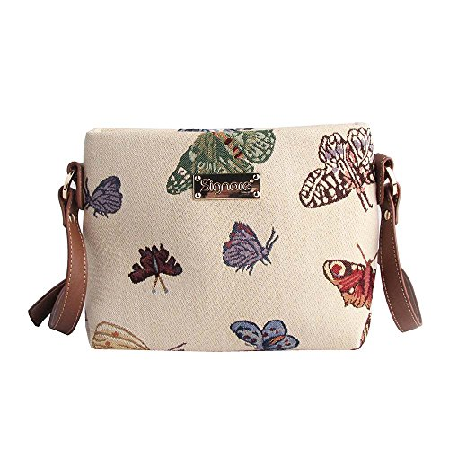 Signare Tapiz Mochila Bandolera Mujer Bolsos pequeños Mujer con diseño de Flores y Criaturas de jardín (Mariposa)
