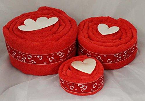 Handtuchtorte / Herztorte / Hochzeitstorte, Farbe rot, Gr. L