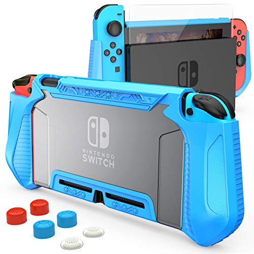 HEYSTOP Case Compatible with Nintendo Switch Case Screen Protector,TPU Protective Heavy Duty Cover Case for Nintendo Switch with Shock Absorption and Anti-Scratch (Transparent Blue)