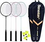 Senston Badminton Rackets 4 Pack, Badminton Set Including 2 Badminton Bag/4 Rackets/4 Nylon Badminton