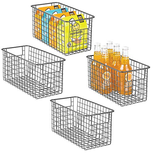 mDesign 4er-Set Allzweckkorb aus Metalldraht – flexibler Aufbewahrungskorb für die Küche, Vorratskammer etc. – kompakter und universeller Drahtkorb mit Griffen – grau