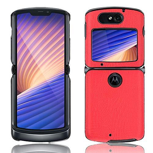 SPAK Motorola Razr 5G 2020 Hülle,Neuer Qualitäts Krokodilmuster Schutzhülle Harter Rückseitiger Abdeckungs Handyhülle für Motorola Razr 5G 2020 (Rot)