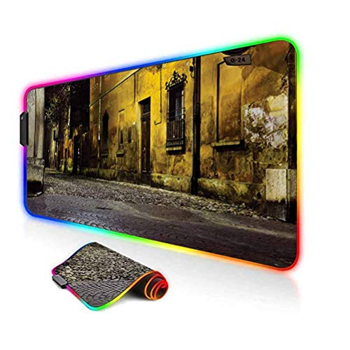 RGB Gaming Mouse Pad,Old Ancient Empty Dark City Streets Avenues with Homes Photograph Civilization Print Led Mousepad with Non-Slip Rubber Base,35.6'x15.7',for Game Players,Office,Study Multicolor