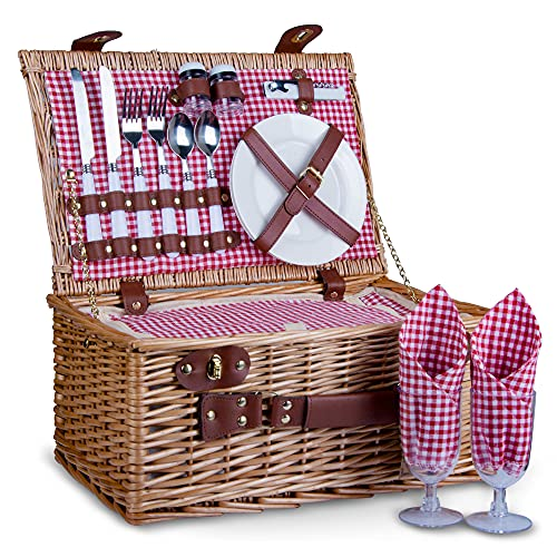 SatisInside 16Pcs Kit Deluxe 2 Person Insulated Wicker Picnic Basket (Reinforced Handle) - Red Gingham