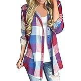 Blusa A Cuadros para Mujer Camisa A Cuadros Alto Vintage Cuello con Blusa De Manga Larga Camisetas De Manga Larga Camiseta Longbluse Loose Fit (Color : Rot, Size : 3XL)