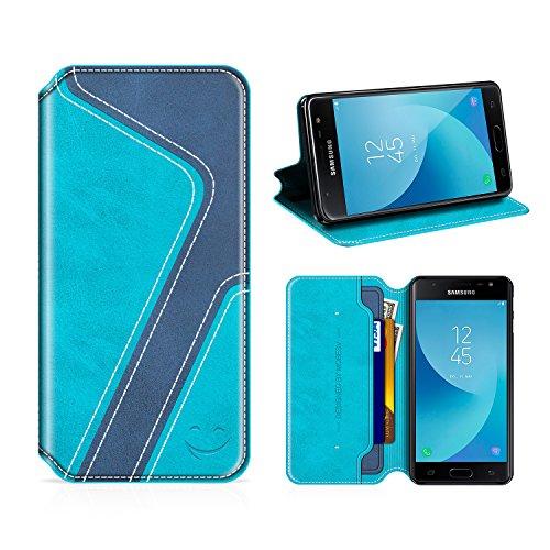 MOBESV Smiley Samsung Galaxy J7 2017 Hülle Leder, Samsung J7 2017 Tasche Lederhülle/Wallet Hülle/Ledertasche Handyhülle/Schutzhülle für Samsung J730 Galaxy J7 2017, Aqua/Dunkel Blau