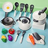 iPlay, iLearn Kids Kitchen Accessories Playset, Pretend Play Cooking Set, Toy Pots N Pans, Cookware, Utensils, Vegetables, Gift for 3 4 5 Years Old Baby Infant Toddlers Boys Girls Children (White)