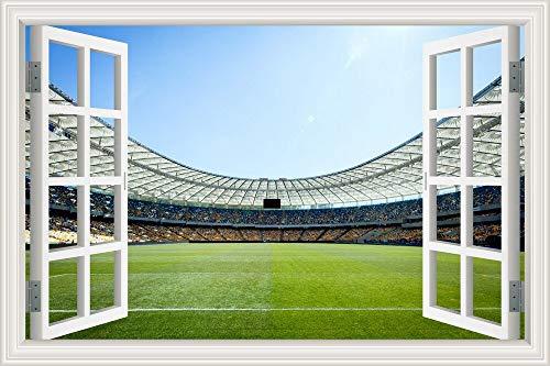 Kreative Wandaufkleber Fußball Sportball Spiel Fußballfeld Rasen Stadion Landschaft Vinyl Fenster PVC Poster Aufkleber Kunst Wandbild Schlafzimmer Dekoration