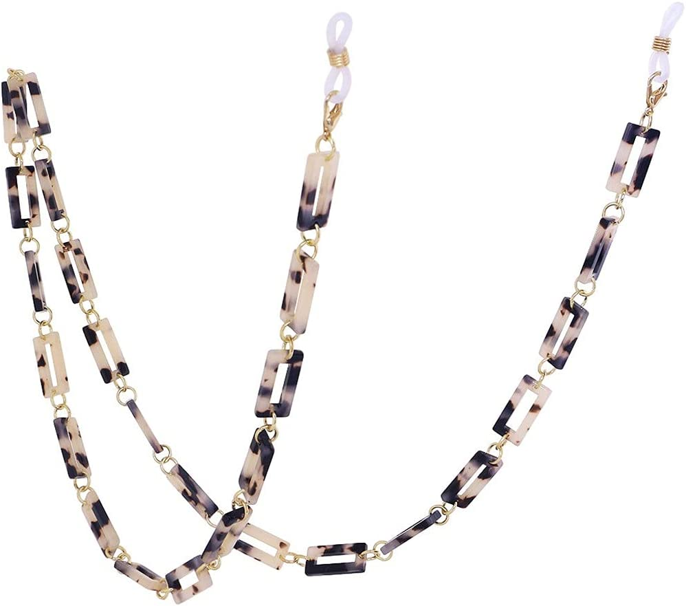 XJJZS Leopard Resin Hexagon Glasses Chain Women Reading Glasses Hanging Neck Chain Lanyard Strap Necklace Jewelry (Color : B)