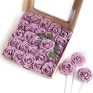 Silk Flower Arrangements Breeze Talk Artificial Flowers Lilac Pink Roses 25pcs Realistic Fake Roses w/Stem for DIY Wedding Bouquets Centerpieces Arrangements Party Baby Shower Home Decorations (25pcs Retro Lilac Pink)