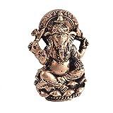 Thai Decor Ganesha Buddha Statue Hindu God of Success Sitting on Lotus Aquarium Fish Tank Resin Decorations (Gold)