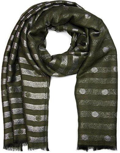 styleBREAKER Schal mit Streifen Punkte Muster und Metallic Fäden, Fransen, Tuch, Damen 01017065, Farbe:Oliv-Grün