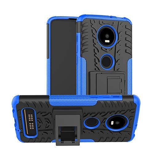 TiHen Handyhülle für Motorola Moto Z4 Play Hülle, 360 Grad Ganzkörper Schutzhülle + Panzerglas Schutzfolie 2 Stück Stoßfest zhülle Handys Tasche Bumper Hülle Cover Skin mit Ständer -Blau