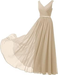 Alicepub V-Neck Chiffon Bridesmaid Dress Long Party Evening Formal Gown Sleeveless