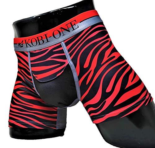最高のフィット感、蒸れない履き心地、妊活に最適メンズボクサーパンツ コビワン /Red Zebra(XL)
