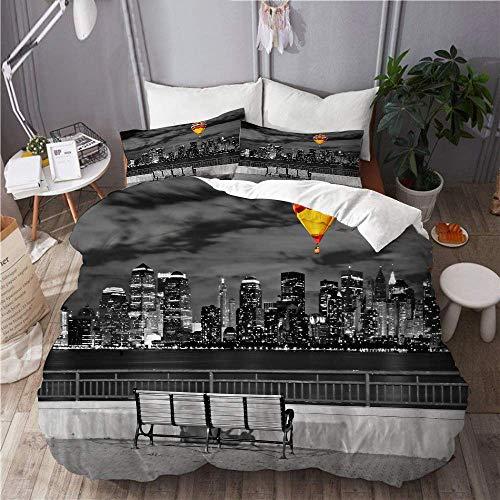 966 Mikrofaser,Die Skyline von New York City vom Liberty State Park,1 Bettbezug 220x240 + 2 Kopfkissenbezug
