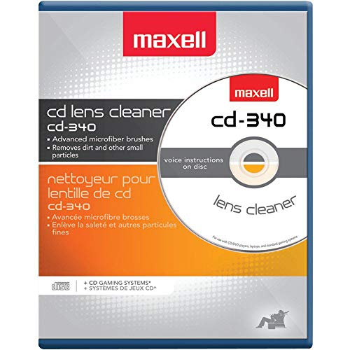 CD Laser Lens Cleaner Disc with Microfiber Brushes and Instructions from Maxell
