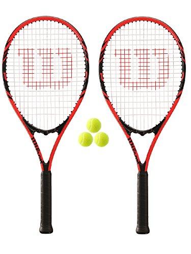 Wilson Federer 110 - Raquetas de tenis (2 unidades, L3, incluye 3 pelotas)