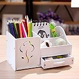 Multi-funktions Stifthalter, Kreativstift veranstalter student süße schreibwaren schreibtisch organizer büro stift bleistift halterschale-weiße Blume 22x11x12cm(9x4x5inch)