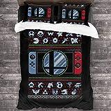 Super Smash Bros Ultimate Christmas Switch Knit Pattern Juego de Cama de 3 Piezas Funda nórdica, Juego de Cama Decorativo de 3 Piezas con 2 Fundas de Almohada