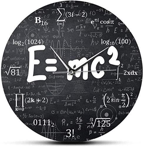BINGTANGXUELI Co.,ltd Reloj De Pared Albert Einstein E_Mc2 Relatividad Fórmula Matemática Reloj De Pared Día del Maestro Maestro Científico Regalo-30X30Cm