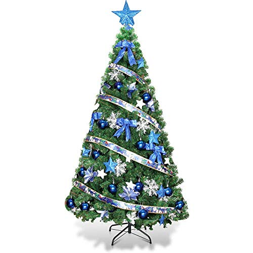 KAUTO Pre-Lit Artificial Christmas Tree,Premium Encryption Hinged Pine Tree with Blue Ornaments & Metal Stand for Holiday Decor-Green 5ft(150cm)