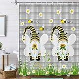 Duschvorhang mit Sonnenblumen-Motiv, graues Büffelkaro, kariert, Duschvorhang, Frühlings-Gänseblümchen-Blume, Honigbiene, Badezimmervorhang, Bauernhaus-Stoff, Duschvorhang für Badezimmer, 174 x 178 cm