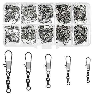 100 Pcs Fishing Rolling Swivel with Safety Snaps Quick Change Interlock Barrel Swivels Ball Bearing Fishing Hook to Line Connectors High Strength Tackle for Saltwater Freshwater Size 7# 8# 10# 12# 14#