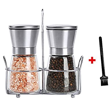 Set of Salt and Pepper Grinder, Hippih 2 pack Salt and Pepper Shakers with Stand and Brush, Stainless Steel Spice Grinder Mill for Adjustable Coarseness