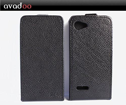 avadoo® Archos 40 Neon Flip Case Cover Schwarz Ledercase vernäht & mit doppelten Kartenschacht als Cover Tasche Hülle