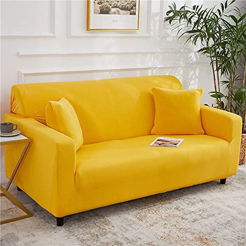 Fundas Sofa Elasticas,Moderno Color Puro Amarillo Minimalista Moda Súper Estiramiento Antideslizante Resistente A Las Arrugas Funda De Sofá para Perros,Gatos,Mascotas,Elástico,Protector De Mueble