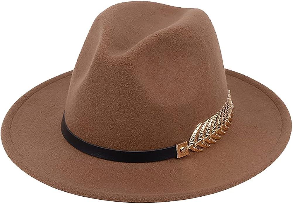 Womens Winter Spring Vintage Leaf Felt Fedora Hat, Wide Brim Fashion Panama Cap for Women