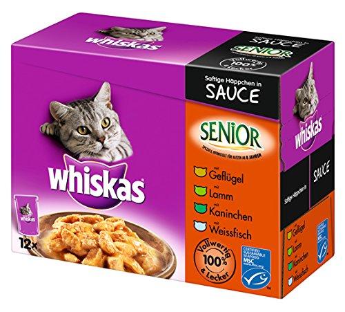 Whiskas Senior Gato Forro Selección Carne y Pescado en Sauce, 48Bolsas (4x 12x 100g)