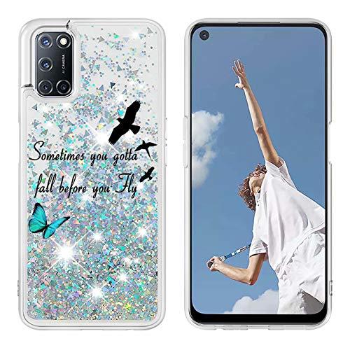 Miagon Flüssig Hülle für Oppo A52/A72/A92,Glitzer Treibsand Handyhülle Glitter Quicksand Schutzhülle Bumper Case Cover,Vogel