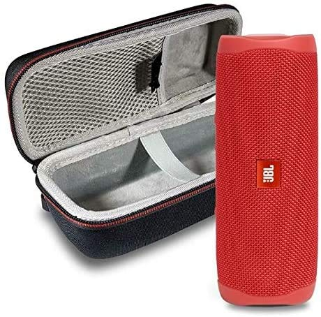 JBL FLIP 5 Portable Wireless Bluetooth Speaker IPX7 Waterproof On-The-Go Bundle with Boomph Hardshell Protective Case - Red