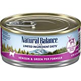 Natural Balance L.I.D. Limited Ingredient Diets Wet Cat Food, Venison & Green Pea Formula, 5.5 Ounce Can (Pack of 24), Grain Free