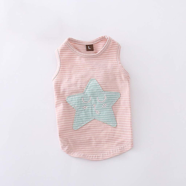 QLMS New Summer Cotton Stretch color Strip Dog Clothes pet Clothes Law Teddy Puppy Vest (color   Pink)