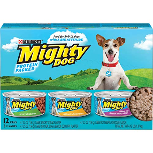 Purina Mighty Dog Small Breed Gravy Wet Dog Food Variety Pack, Savory Steak, Rotisserie Chicken and Chicken, Egg & Bacon Country Platter flavor - (2 Packs of 12) 5.5 oz. Cans