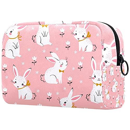 Bolsa de maquillaje multicolor con cremallera, organizador de viaje para mujeres y niñas, diseño floral de conejo rosa de Pascua