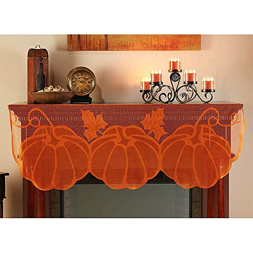 O/D Pumpkin Lace Fireplace Cloth, Dexuan Thanksgiving Pumpkin Maple Leaf Fall Decor for Home Indoor, Halloween Harvest Autumn Decor Thanksgiving Fireplace Cloth Orange(60'' L x 20'' W)