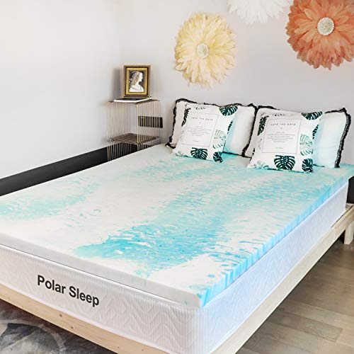 Mattress Topper, Polar Sleep 2 Inch Plush Gel Memory Foam Mattress Topper with CertiPUR-US Certified (Queen)